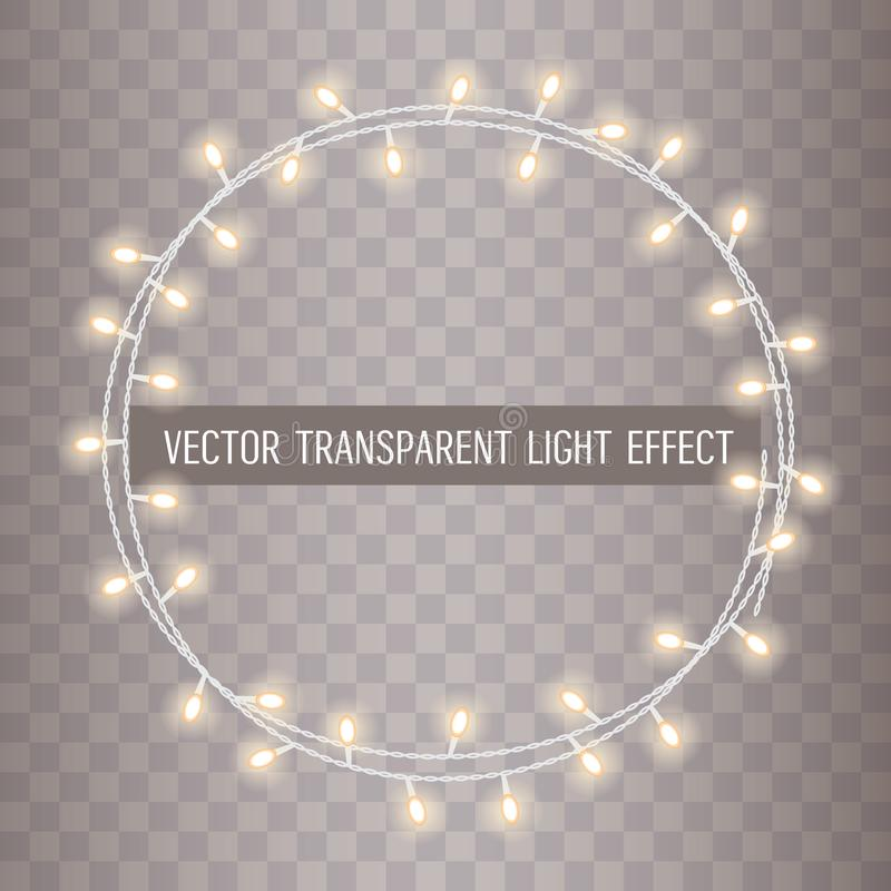 Round frame of overlapping, glowing string lights on a transparent background. Vector illustration stock illustration