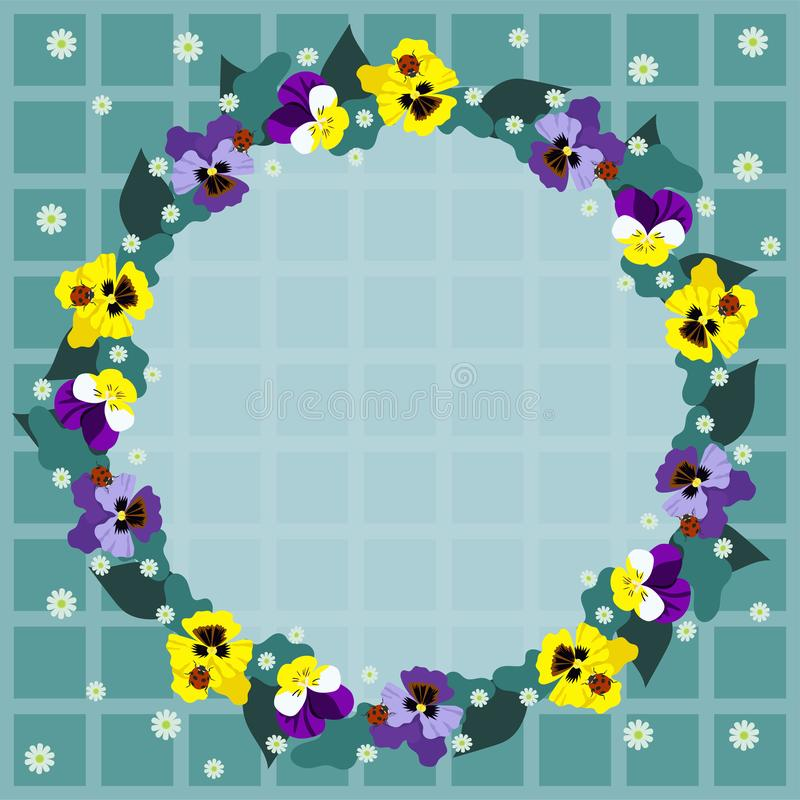 Round frame of pansies on a checkered background. Vector graphics stock illustration