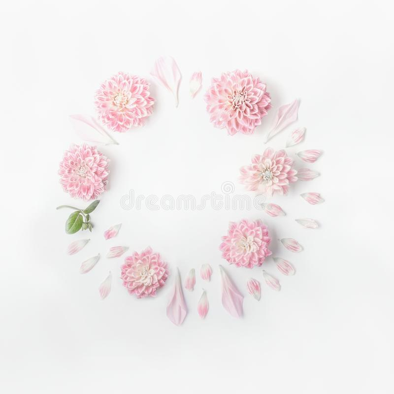 Round frame of pastel pink flowers and petals on white desk background. Floral wreath. Layout for holidays greeting stock images