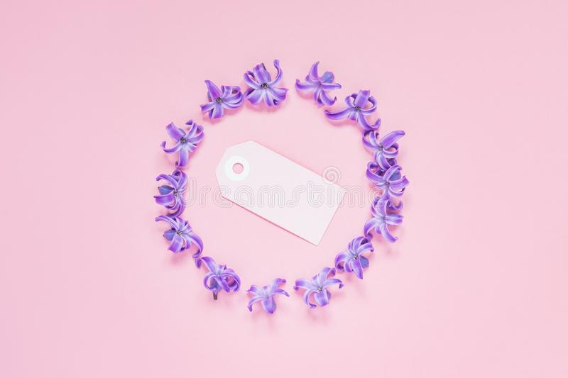 Round frame of pastel purple hyacinth flowers and blank note on gradient pink background. Floral wreath. Layout for holidays stock image