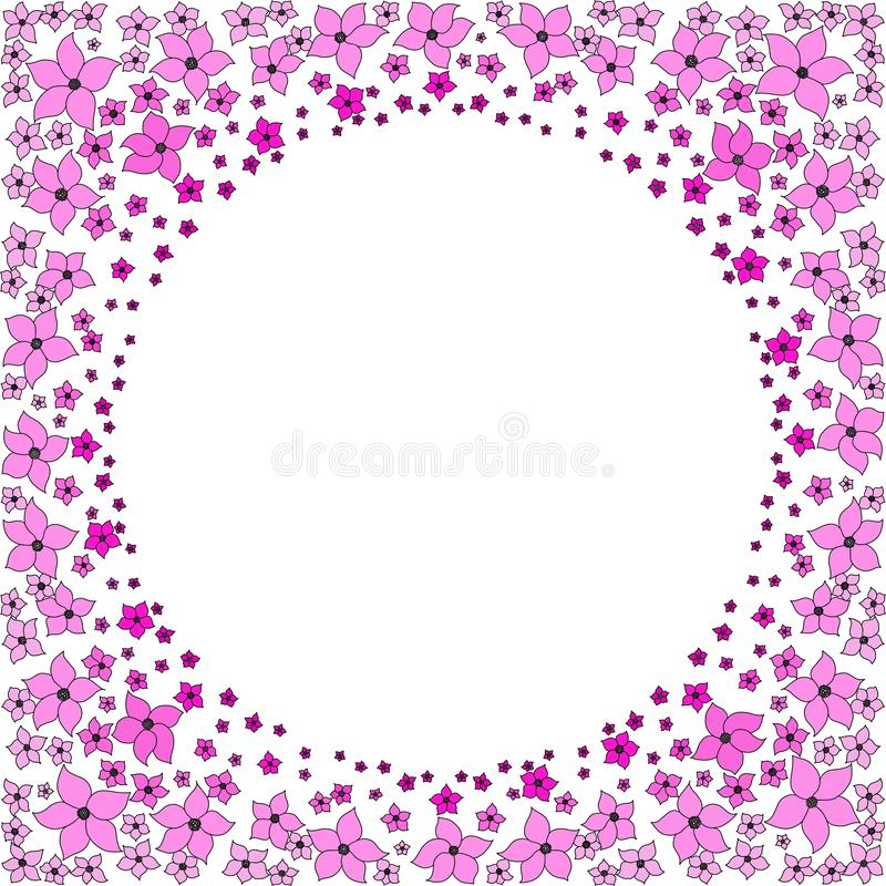 Round frame of pink flowers. vector illustration