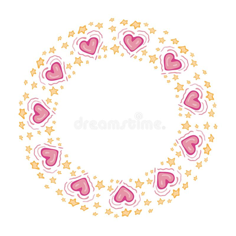 Round frame pink heart and star in vector with empty space for text. Drawn cute Doodle style. Love, romance concept. Beautiful royalty free illustration