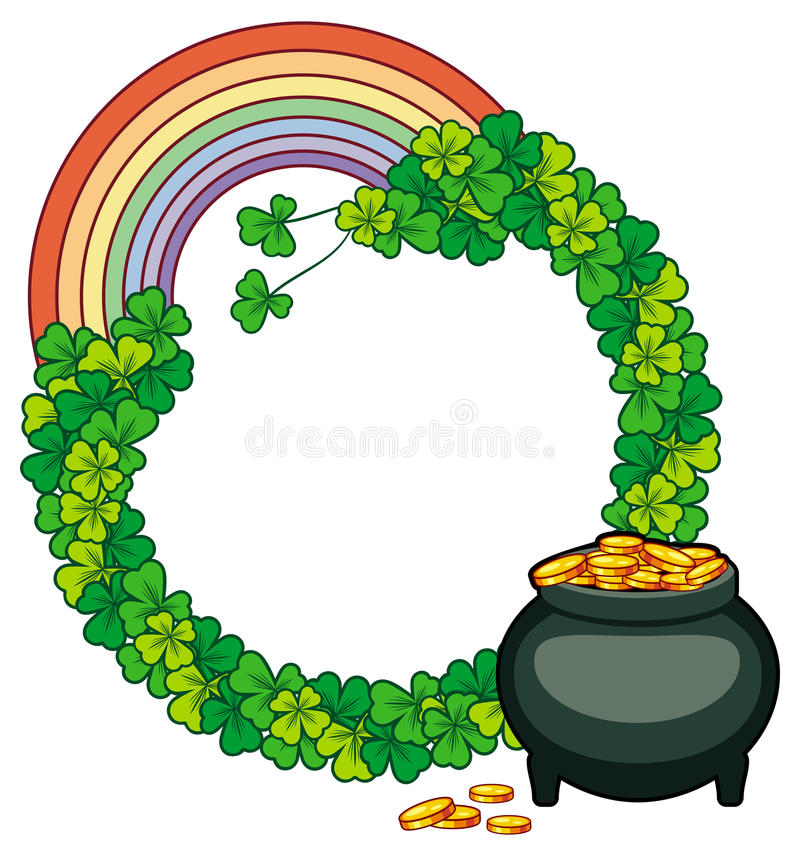 round frame with rainbow and a pot of gold raster clip art stock rh dreamstime com