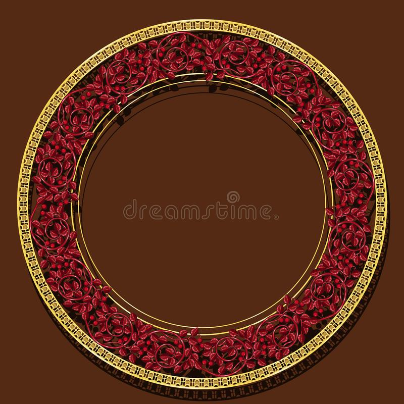 Round frame ruby color with shadow. On brown background stock illustration
