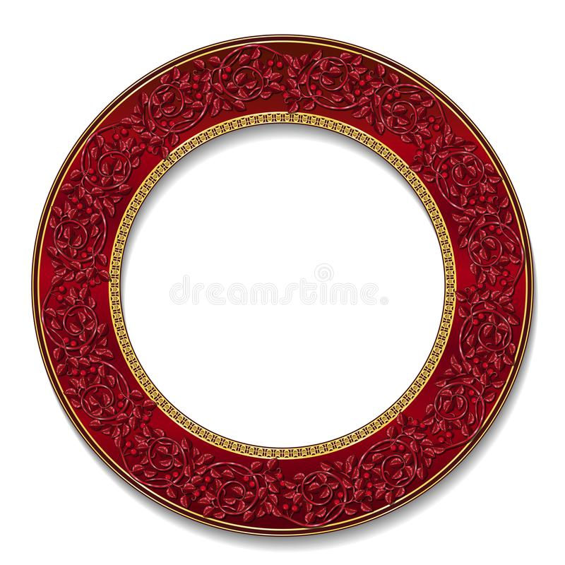 Round frame ruby color with shadow. On white background vector illustration