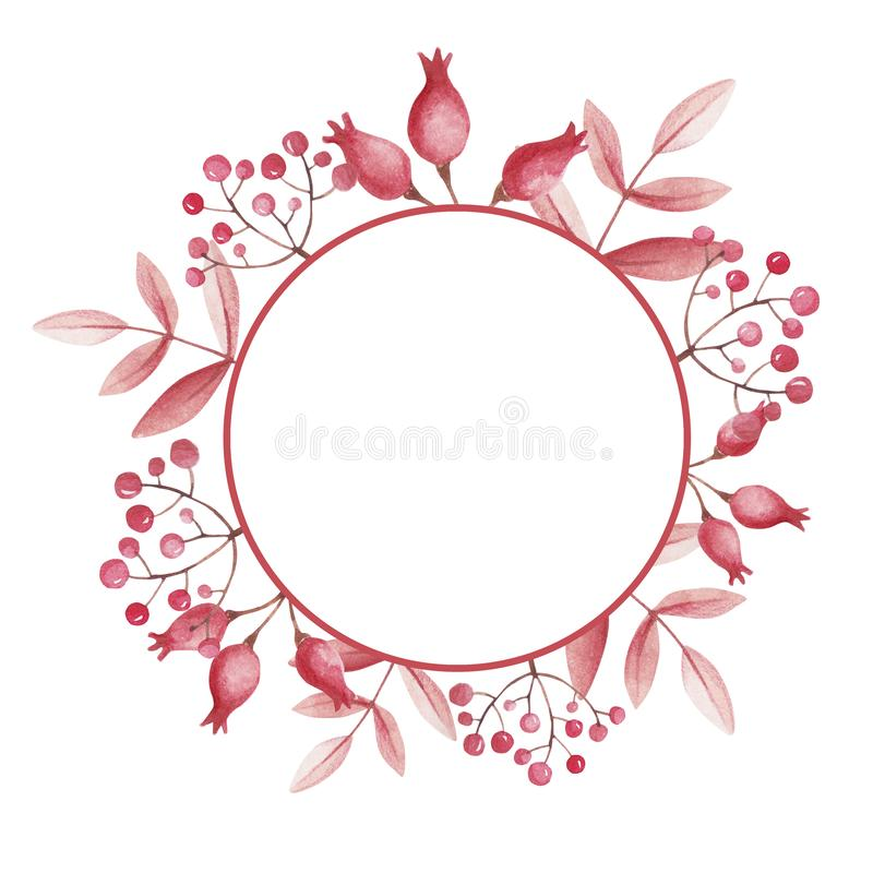 Round frame for store sale. Watercolor with rose hips and mountain ash. stock illustration
