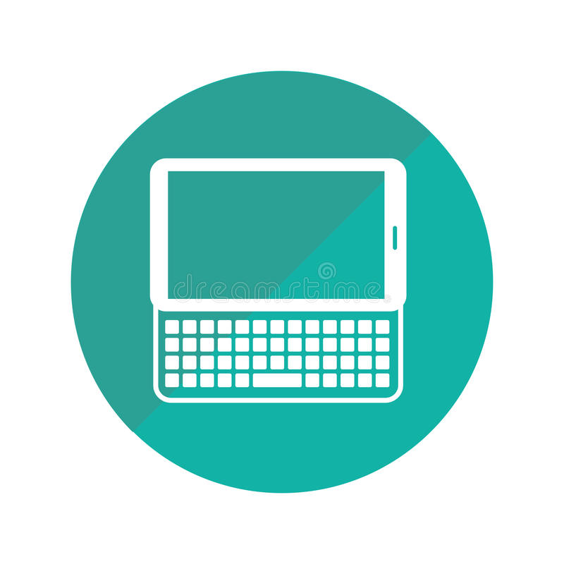 Round frame with tablet with keyboard. Vector illustration vector illustration