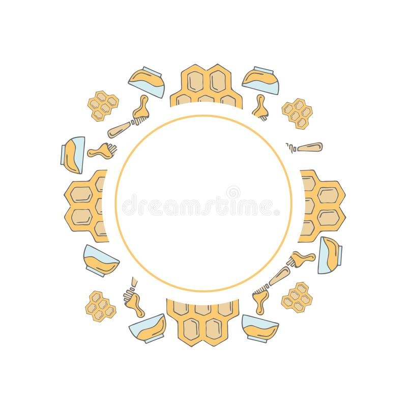 Round frame template in hand drawn style royalty free illustration