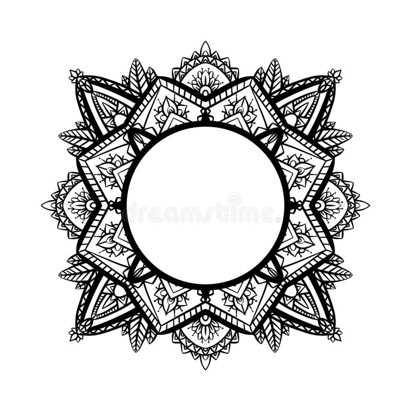 Round frame with tracery black and white zen mandala. The object is separate from the background. Vector delicate doodle template. For cards, invitation, banner royalty free illustration