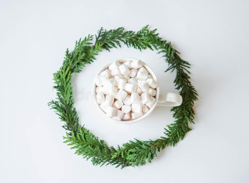 Round frame Twigs of green fresh evergreen spruce and mug with hot drink and marshmallows on white background. Top view stock photography