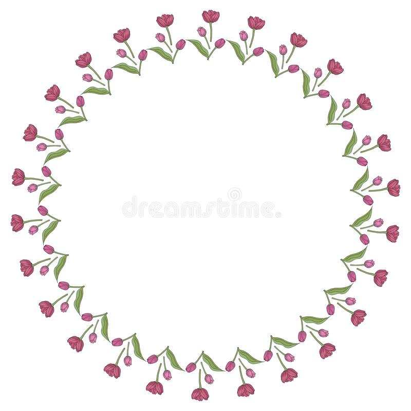 Round frame with vertical lovely pink tulips on white background. stock illustration