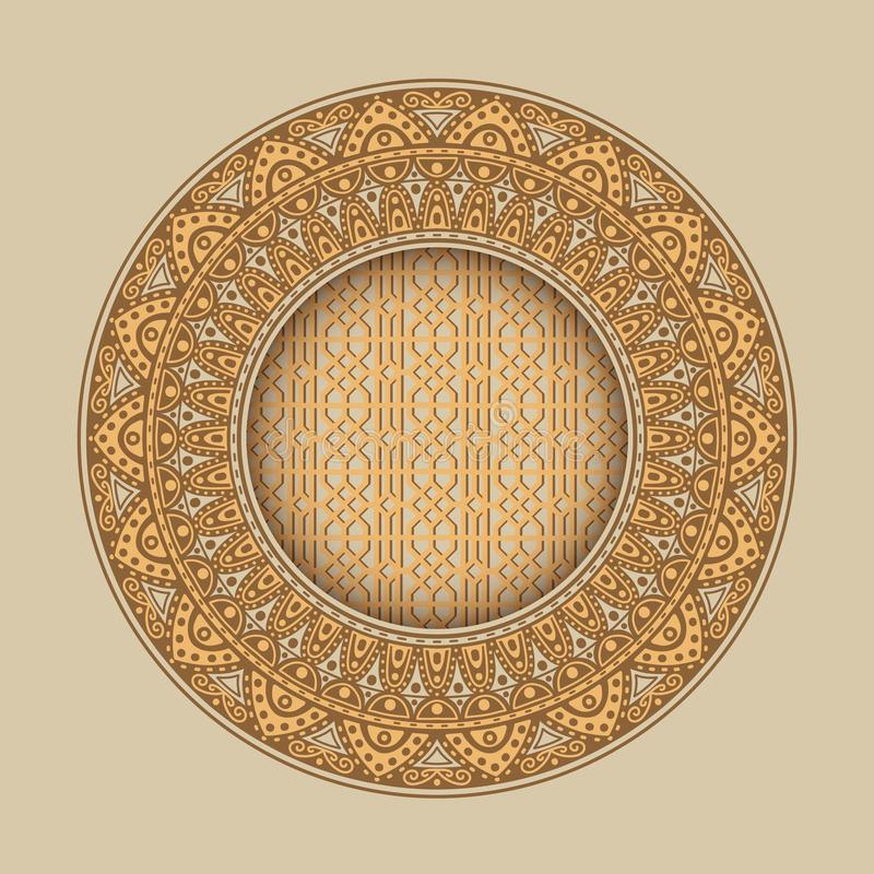 Round frame with vintage ornament .Flower pattern stock illustration