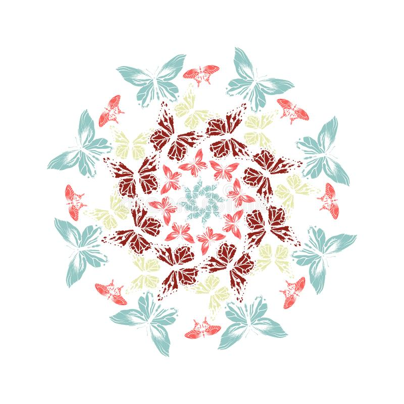Round frame from vivid colorful butterflies on white background.mandala. circle. Vector illustration. Round frame from vivid colorful butterflies on white royalty free illustration