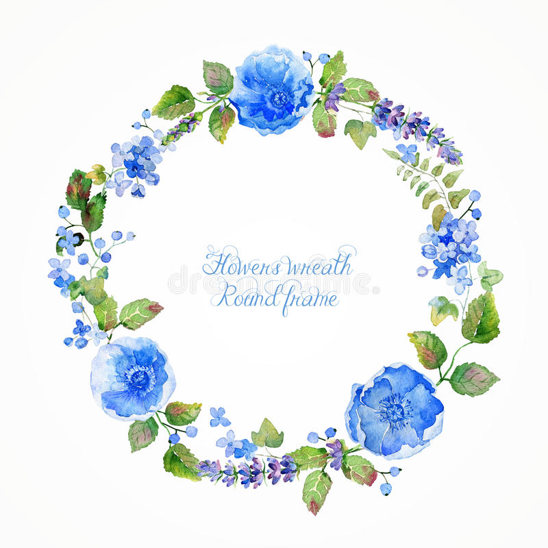 Round frame of watercolor blue flowers and berries. royalty free illustration