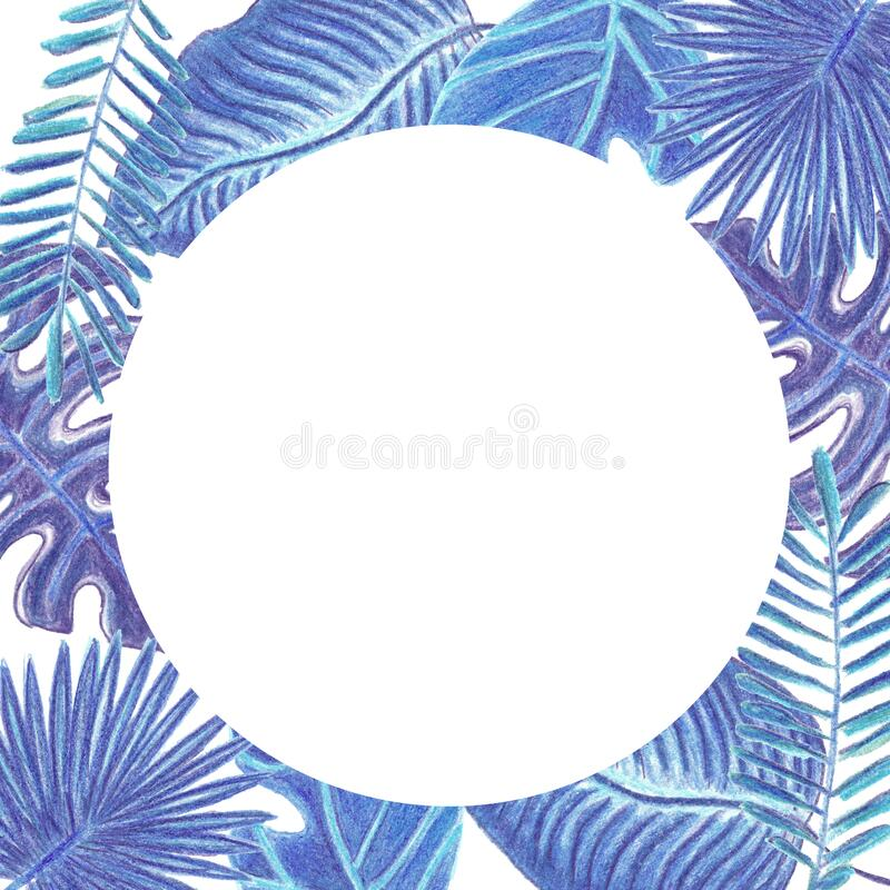 Round frame with watercolor colored pencils hand drawn phantom blue tropic leaves isolated on white. Background with copy space for text. Concept of holidays stock photos