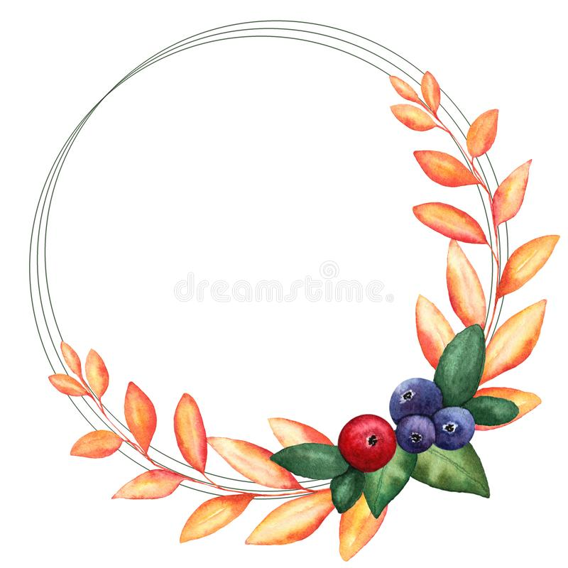 Round frame with watercolor illustrations of berries, branches and leaves royalty free illustration