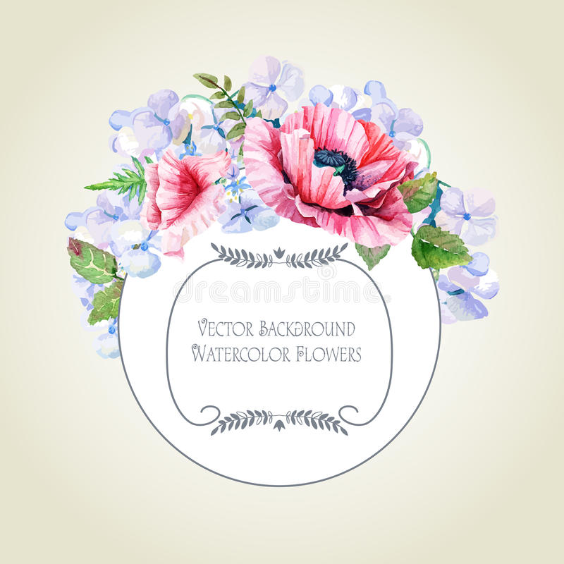 Round frame of watercolor poppies and hydrangea. vector illustration