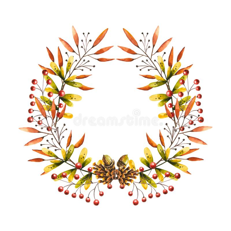 Round frame with watercolor sprigs, leaves, berries, pine cone, acorn. Illustration isolated on white. Hand drawn autumn wreath stock illustration