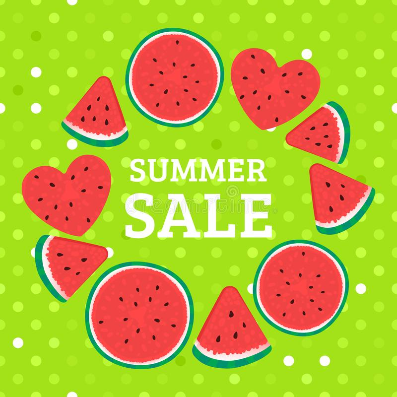 Round frame of watermelon pieces. Summer bright design sale. Vector illustration on green polka dot. Background royalty free illustration