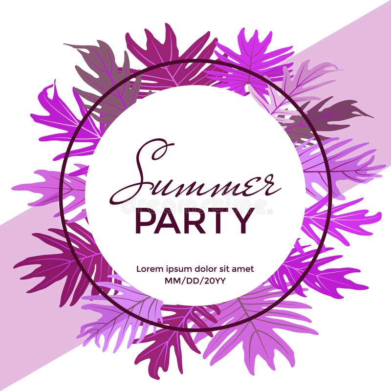 Round frame with white background, purple and violet tropical jungle leaves border, text and place for date. Summer party banner vector illustration. Tropic stock illustration
