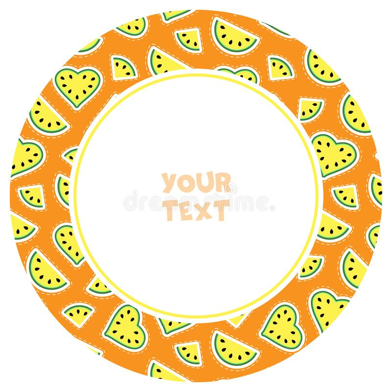 Free Round Frame With Yellow Watermelon Slices. Stock Photography - 180753522