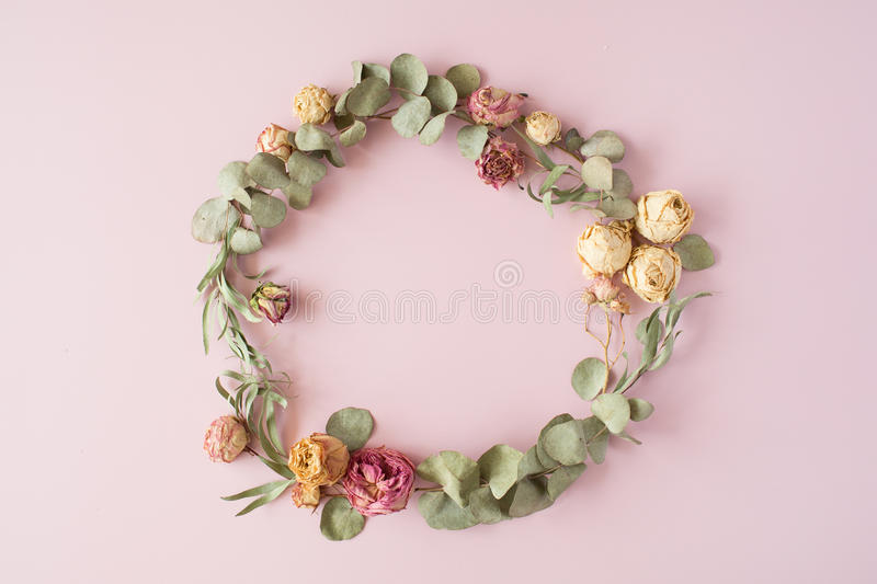 Round frame wreath pattern with roses, pink flower buds, eucalyptus branches. And leaves on pink background. flat lay, top view stock photography
