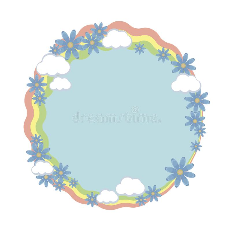 Round frame wreath rainbow stripes with composition of blue flowers and white clouds vector object isolated on white background. vector illustration