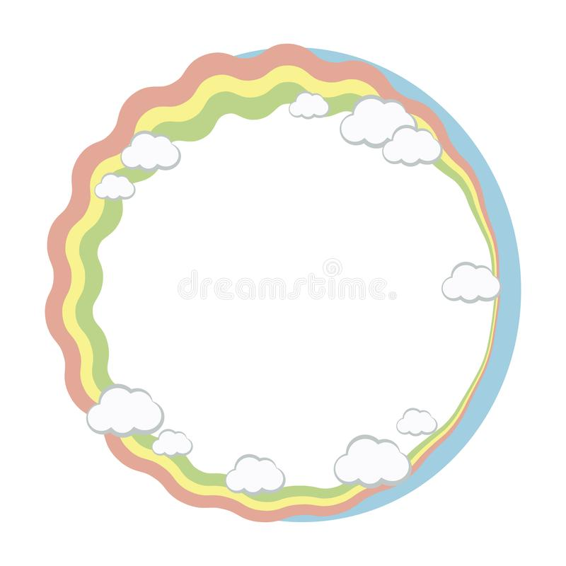 Round frame wreath of rainbow stripes and white clouds, the edge of blue sky vector object isolated on white background. royalty free illustration