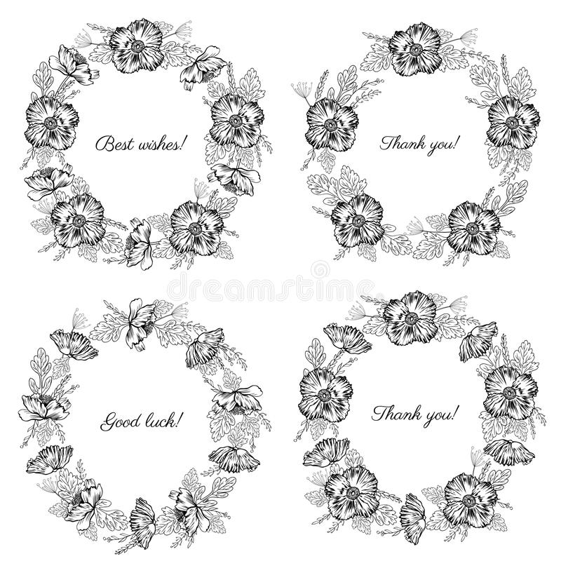 Round frames, Poppy flowers, floral wreath isolated on white background, hand drawn vector ink sketch herbal vector illustration