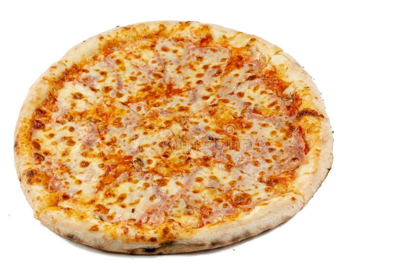 Round Fresh Pizza on the white background & x28;Flip 2019 royalty free stock images