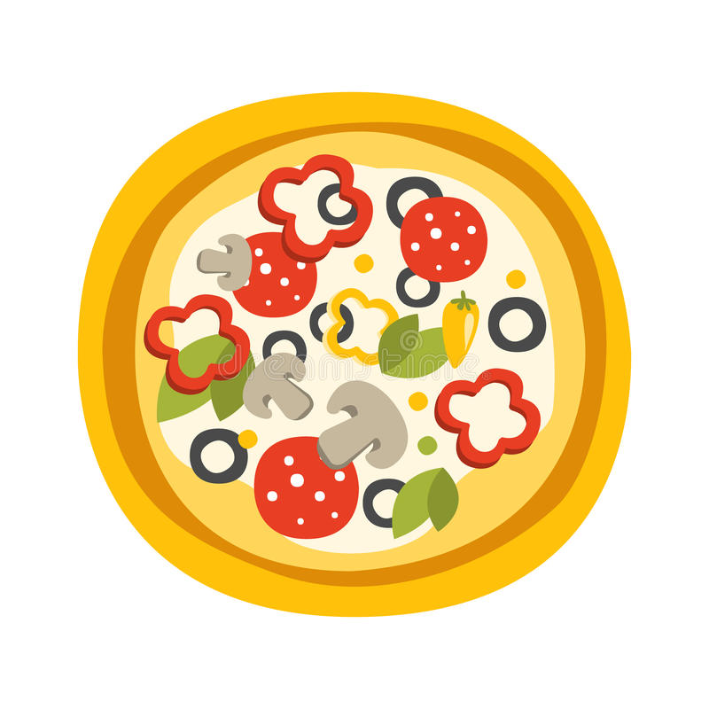 Round Full Pizza With Pepperoni Primitive Cartoon Icon, Part Of Pizza Cafe Series Of Clipart Illustrations. Vector Simplified Clip-Art Drawing Element stock illustration