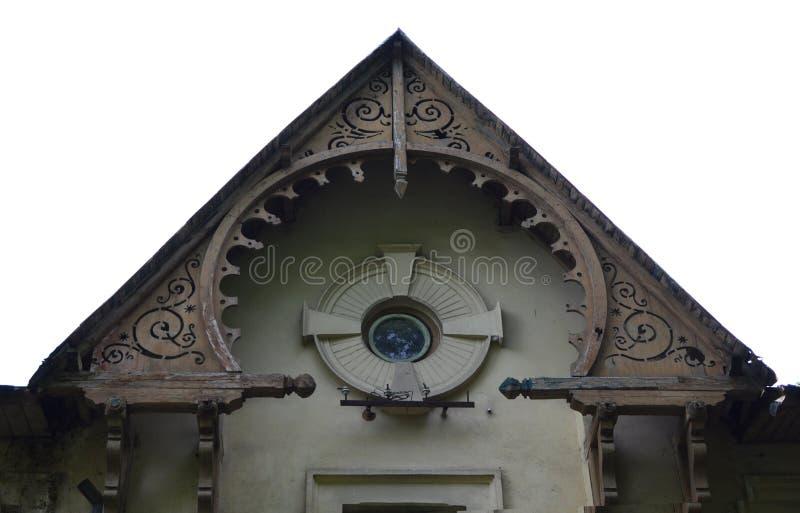 Round gable. Round wood old handmade gable stock photography