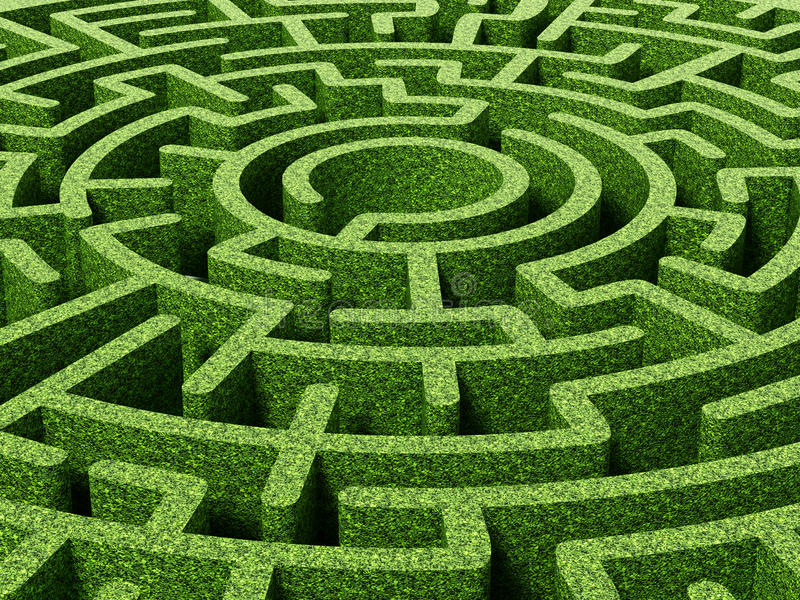 High Quality Download Round Garden Maze With Green Bushes As Walls. Stock Illustration    Illustration Of Park