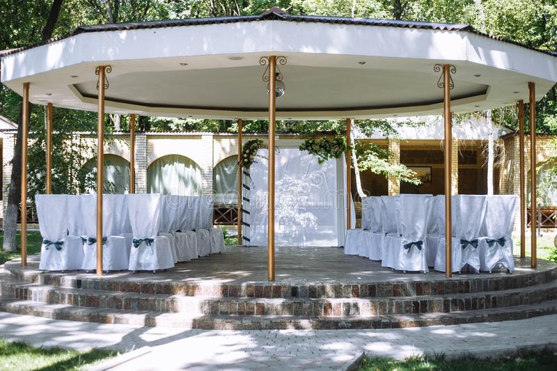 Round gazebo, decorated for a wedding ceremony royalty free stock photos