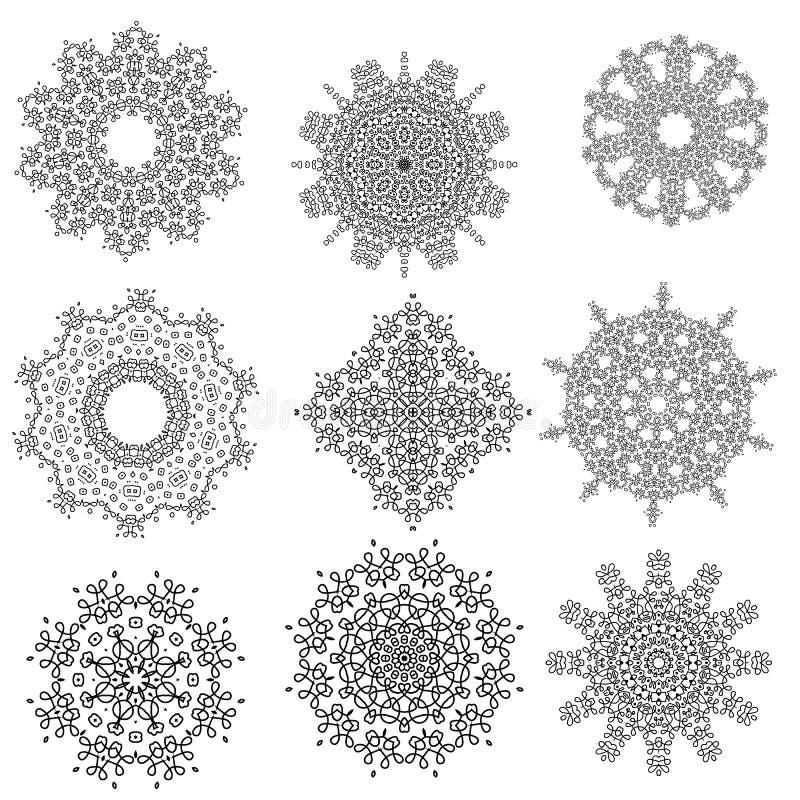 Round Geometric Ornaments Set Isolated. On White Background stock illustration