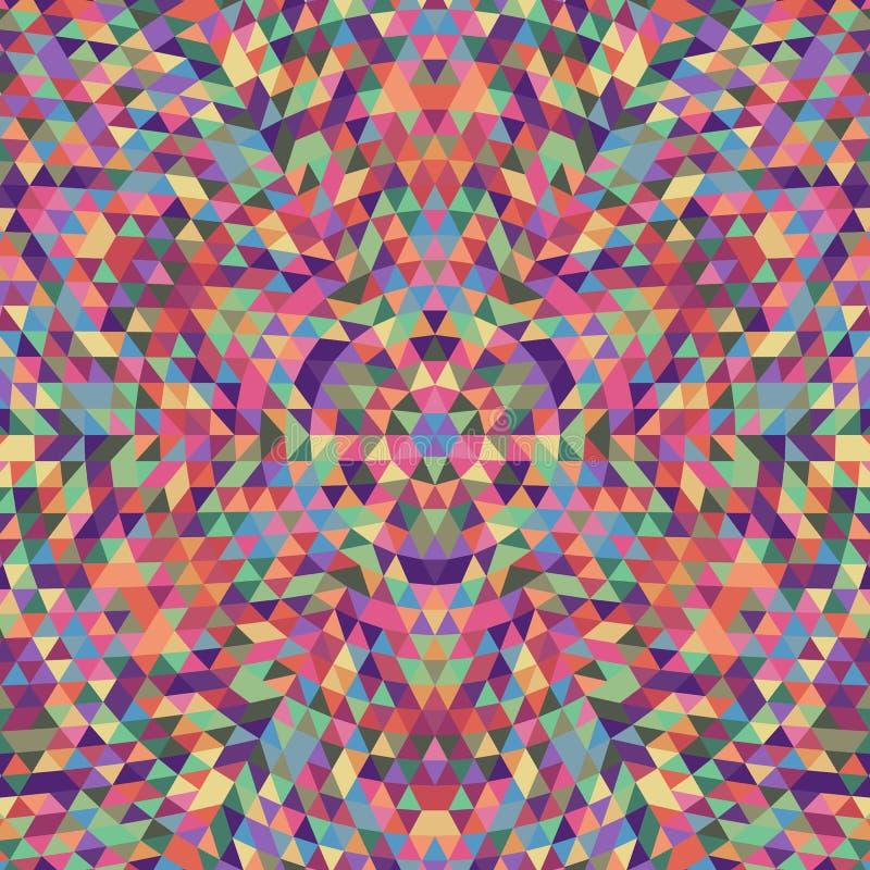 Round geometryczny trójboka kalejdoskopu mandala tło - symmetric wektoru wzoru projekt od stubarwnych trójboków royalty ilustracja