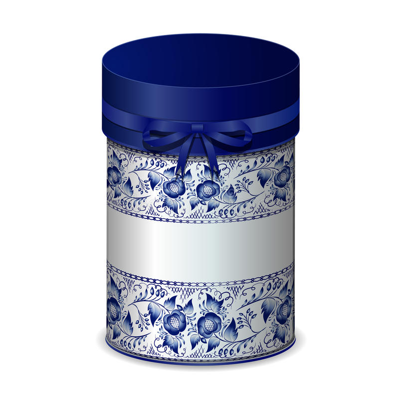 Round gift box with bow and blue pattern in Gzhel style. Vector illustration stock illustration