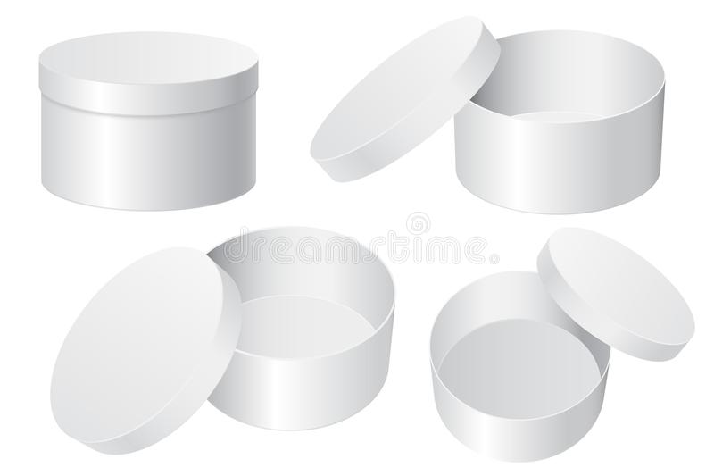 Round gift box. White blank open and closed containers stock illustration