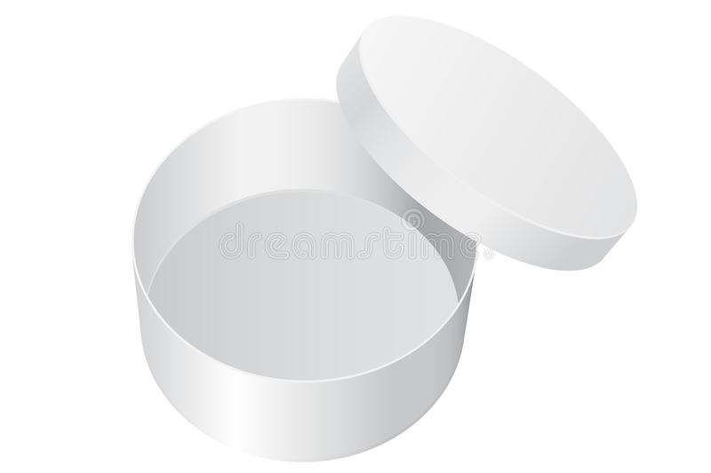 Round gift box. White blank open package stock illustration