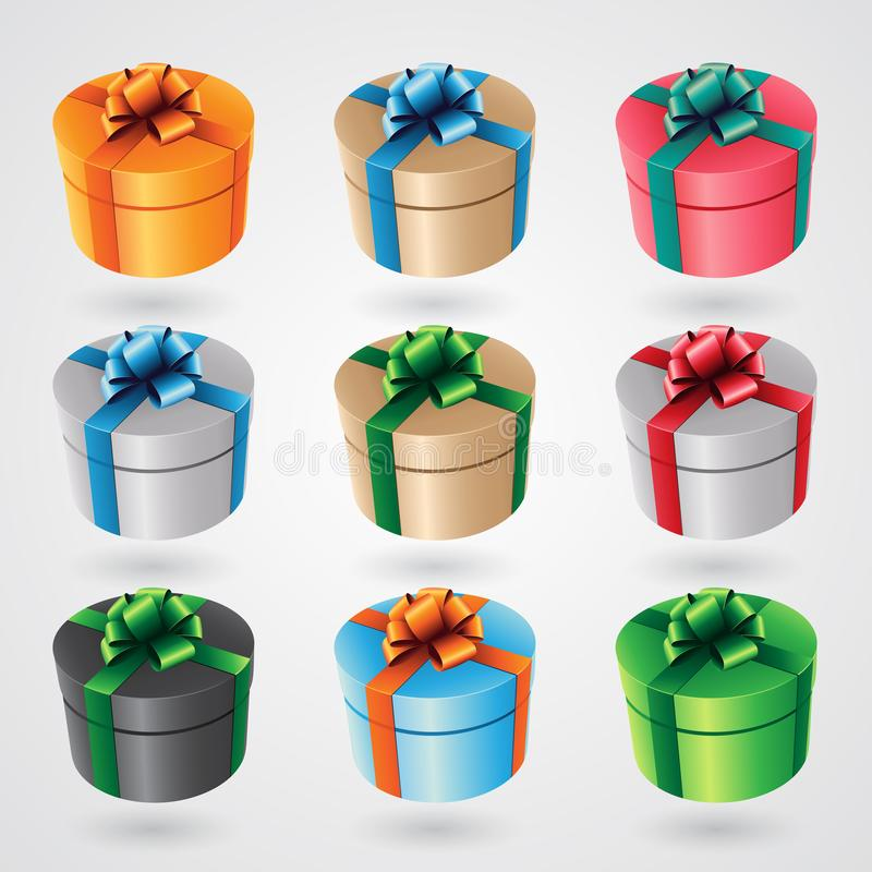 Free Round Gift Boxes With Glossy Ribbons - Set 2 Vector Illustration Stock Photography - 132659732