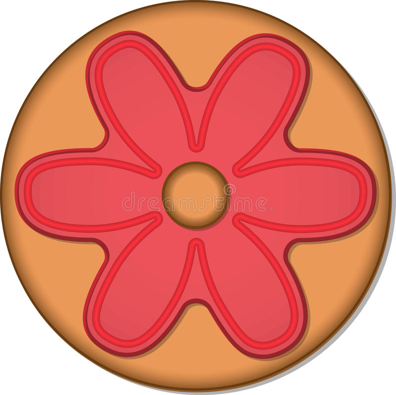 Round Ginger cookie with glaze. Vector illustration EPS10 vector illustration