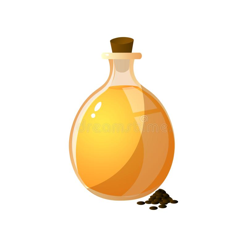 Round glass bottle with extract oil of plant seed. For food preparation. Cartoon style. Vector illustration on white background vector illustration