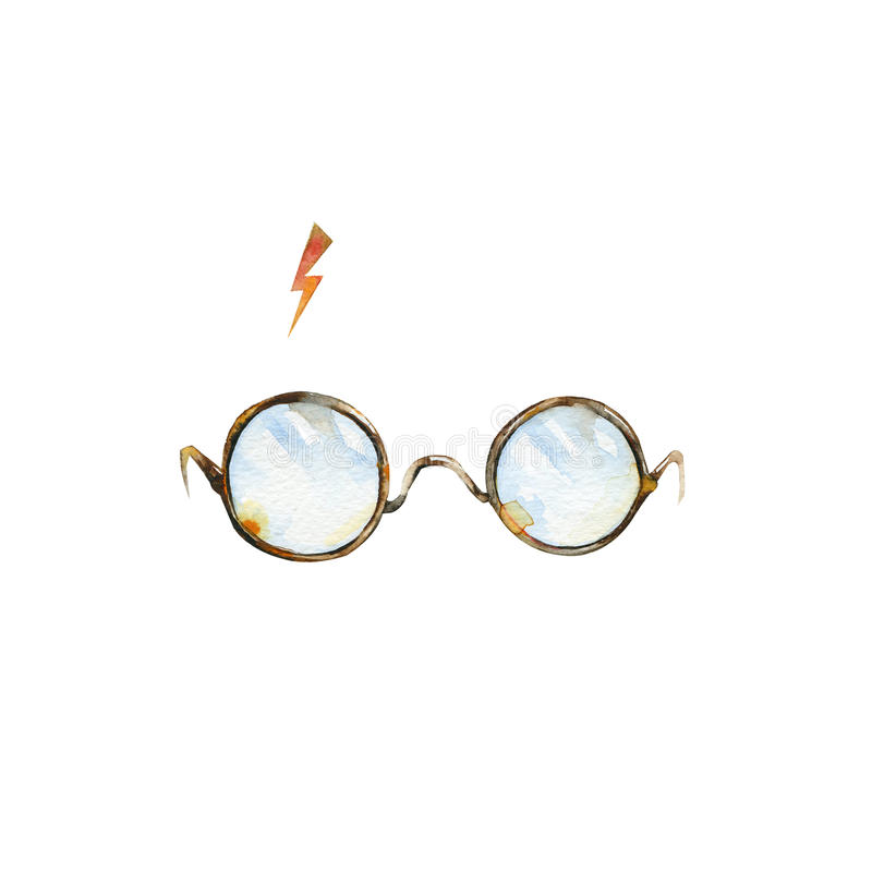 Round glasses and lighting. Watercolor illustration. Can be used as T-shirt print, Halloween textile decoration print, card, child wear decor or wrapping paper royalty free illustration