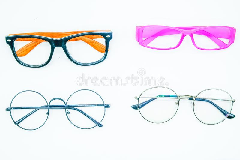 Round Glasses Women.Already used The image is sharp close.Is a good background.Suitable for use. stock photos