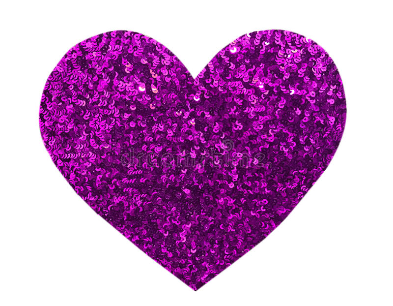 Round glitter purple sequin in heart shape. Isolated on white background - love and valentine concept stock image