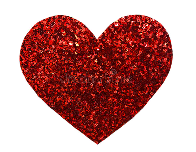 Round glitter red sequin in heart shape. Isolated on white background - love and valentine concept stock photos