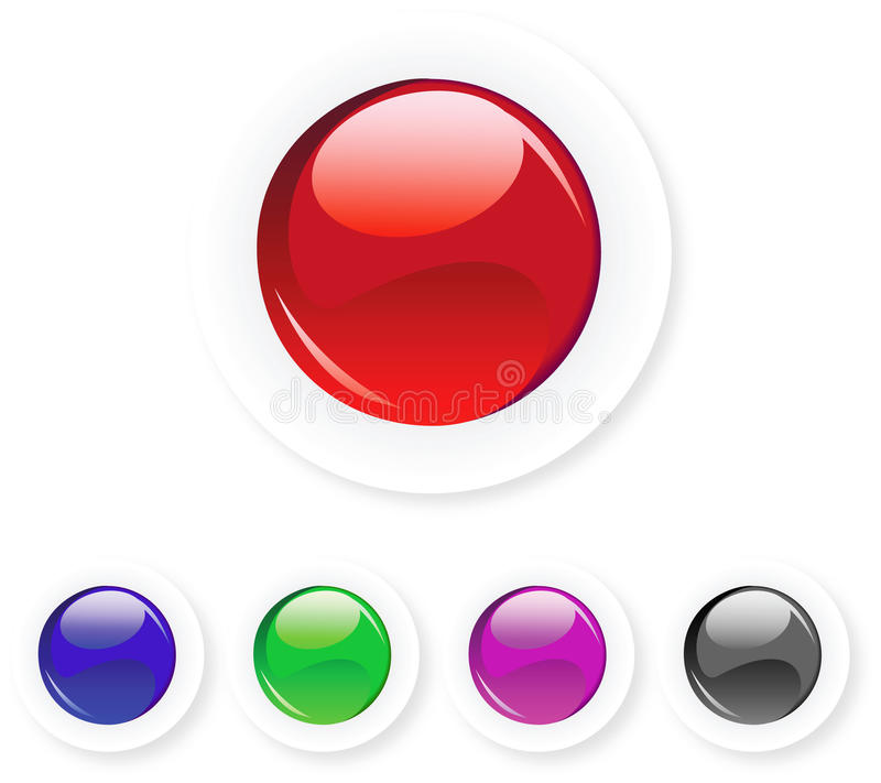 Round glossy button with boarder stock images