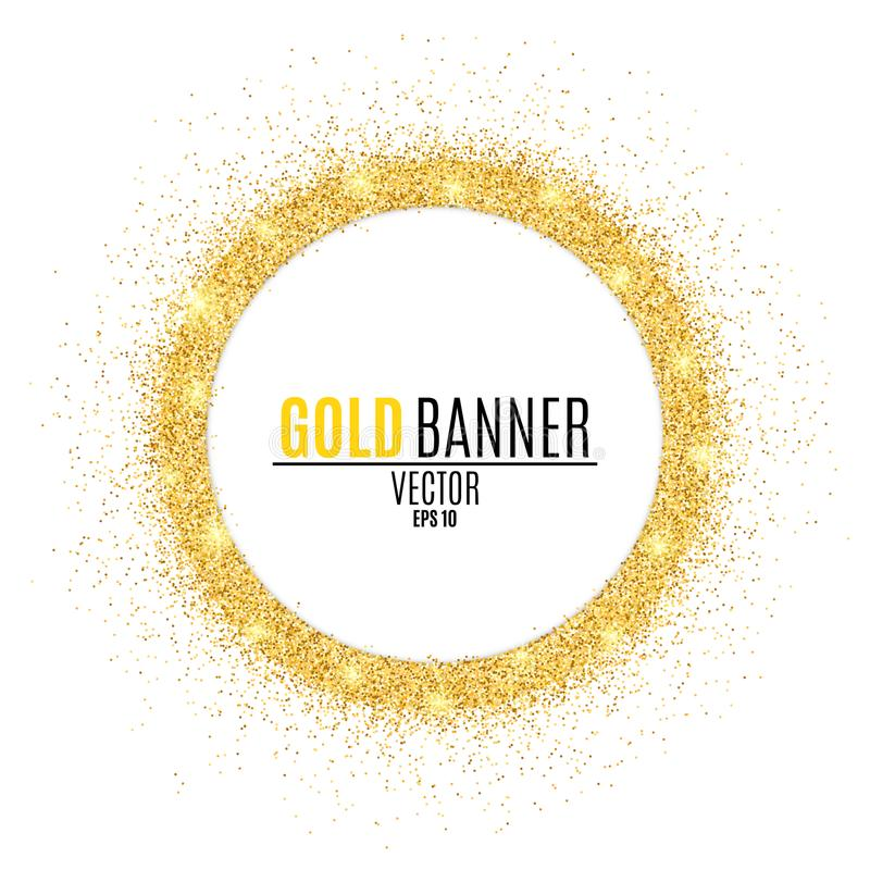 Round gold banner from glitters. Luxury background for your design. Vector stock illustration