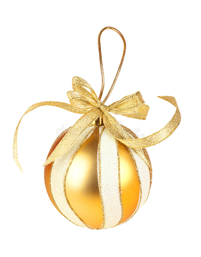 Round Gold Christmas Toy On White Background Royalty Free Stock Photography