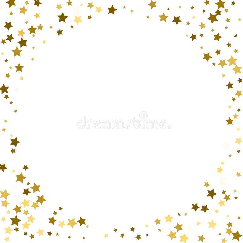 Round gold frame or border of random scatter golden stars on white background. Design element for festive banner, birthday and gr vector illustration